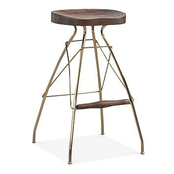 wood metal bar stools. Cult Design Atlas Metal Bar Stool, Solid Elm Wood, Brass 76cm Dark Brown Wood Stools