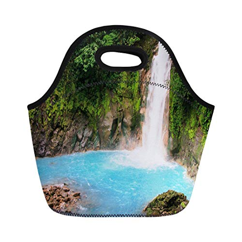 (Semtomn Lunch Tote Bag Blue Celeste Waterfall Costa Rica Green Rio Rainforest Tropical Reusable Neoprene Insulated Thermal Outdoor Picnic Lunchbox for Men Women)