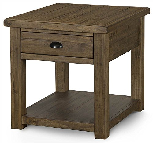 - Magnussen Stratton Rectangular End Table in Distressed Warm Nutmeg Finish