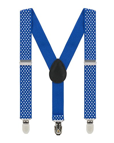 - Kids Suspenders for Boys Girls 2-8 Years, 1 Inch Adjustable Elastic Y Back Clip Suspenders for Children (Dark Blue Polka Dot)