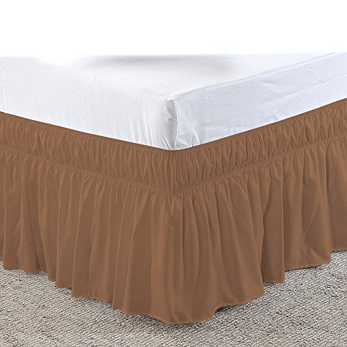 (Uniwaresal Cotton Three Sides Fabric Wrap Around Elastic Solid Bed Skirt, Easy On/Easy Off 100% Microfiber Dust Ruffled Bed Skirts- Bed Wrap with 14 Inch Tailored Drop (Short Queen/Queen, Taupe))