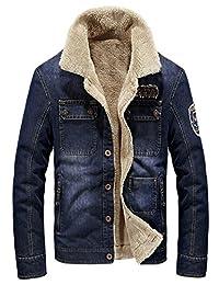 JIAX Men's Winter Thicken Rugged Wear Cargo Denim Jacket Lambs Wool Lining