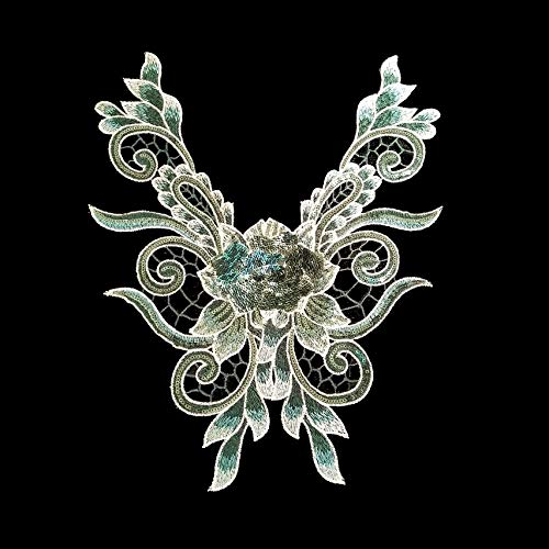 1 Pcs Blue/Green/Pink Sequins Embroidered Floral Lace Neckline Neck Collar Trim Clothes Sewing Applique Style Embroidery Edge Scrapbooking (Green)