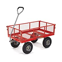 Gorilla Carts GOR800-COM Steel Utility Cart with Removable Sides, 800-Pound Capacity, Red