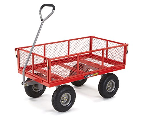 (Gorilla Carts GOR800-COM Steel Utility Cart with Removable Sides, 800-lbs. Capacity, Red)