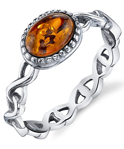 Infinity Design Sterling Silver Ring with Baltic Amber Cognac Color Stone Sizes 6