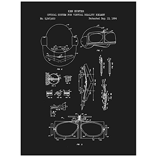 Inked And Screened Gaming  Virtual Reality Goggles   K  Hunter   1984  Design Art Poster Silk Screen Print  8 5  X 11   Black Licorice White Ink