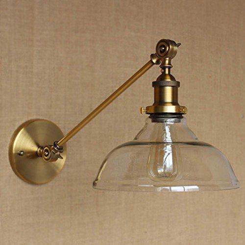 SUSUO Lighting Vintage Country Style Clear Glass Shade Wall Swing Arm Lamp Wall Sconces Antique Gold Finish (Glass Chandelier Wall Sconce)