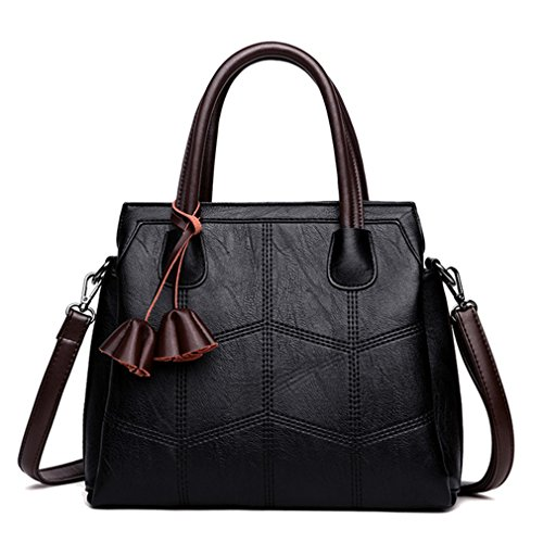 Brand Women Bags Genuine Leather Bags NEW Fashion Women Handbags Sheepskin Shoulder Bags Ladies Sac A Main black -