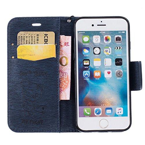 Für Apple iPhone 6 (4.7 Zoll) Tasche ZeWoo® Ledertasche Kunstleder Brieftasche Hülle PU Leder Schutzhülle Case Cover - BF071 / Marineblau Bär