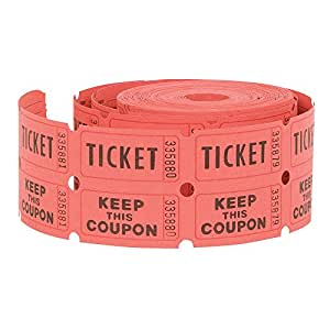 Double Roll of Raffle Tickets, 500ct (Colors May Vary)