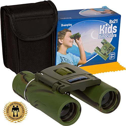 Brainplay Binoculars for Kids High Resolution 8x21 | 1000 Yard Clarity | Compact Binoculars Set for Bird Watching, Backyard Safari, Outdoor Play, Hunting, Camping Gear, Hiking | Boys and Girls Gifts