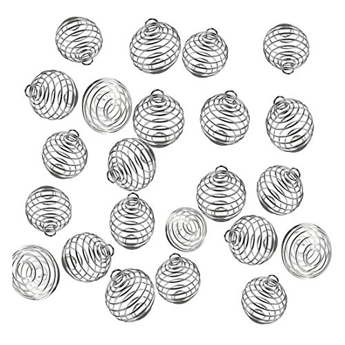 JIALEEY Spiral Bead Cages Pendants, 100 PCs 20x25mm Silver Plated Stone Holder Necklace Cage Pendants Findings for Jewelry Making and Crafting