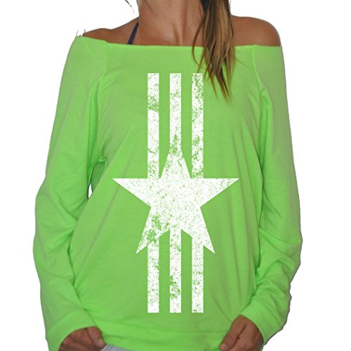 New Womens Frosty Tees Military Star Logo White Stripes Patriotic Conservative Terry Fleece Sweatshirt Heather Neon Green S
