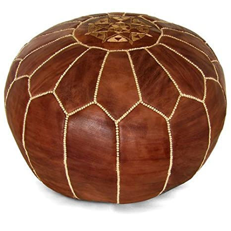 Outstanding Mina Stuffed Moroccan Leather Pouf Ottoman Many Colors Available 20 Diameter And 13 Height Brown Lamtechconsult Wood Chair Design Ideas Lamtechconsultcom