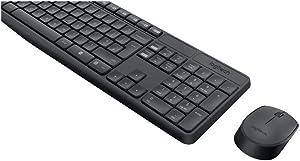 Logitech MK235 Combo Teclado y Ratón para Windows, 2,4 GHz con Receptor Nano USB, Ratón Inalámbrico, 15 Teclas con Función, Batería de 3 Años, PC/Portátil, Disposición QWERTY Español, color Negro