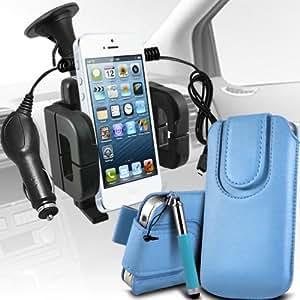 Sony Xperia E1 premium protección PU botón magnético ficha de extracción Slip espinal en bolsa de la cubierta de piel de bolsillo rápido con lápiz óptico retráctil, Micro 12v cargador de coche USB y soporte universal de la succión del parabrisas del coche Vent Cuna Baby Blue por Spyrox