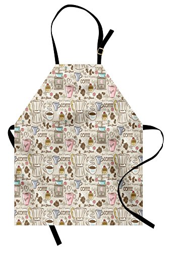 Coffee Apron - Ambesonne Modern Apron, Coffee Time Vintage Espresso Machine Cupcakes Beans Cute Design, Unisex Kitchen Bib Apron with Adjustable Neck for Cooking Baking Gardening, Beige Pale Pink and Umber