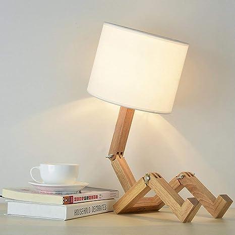 ELINKUME® Creativo robot lámpara de escritorio, ajustable libro estante madera lámpara de noche con pantallas de tela E27 tornillo para niños ...