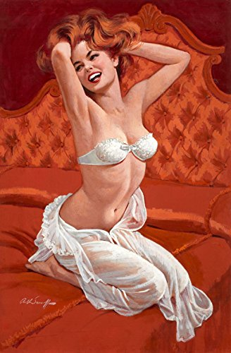 Pin-Up Girl Wall Decal Poster Sticker - Boudoir Pin Up - Red Hair Redhead Pinup Decal Stickers and Mural for your home and business. Vintage Wall Art for Room Decor and Decoration - Pin Up Poster (Easy Pinup Hair)