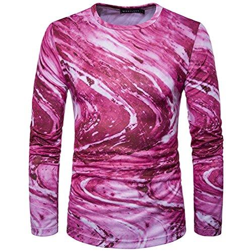 WanYang Graffiti Impresión Camisetas 3D Printing Cartoon T-shirt Shirt Top De Manga Larga Rosa