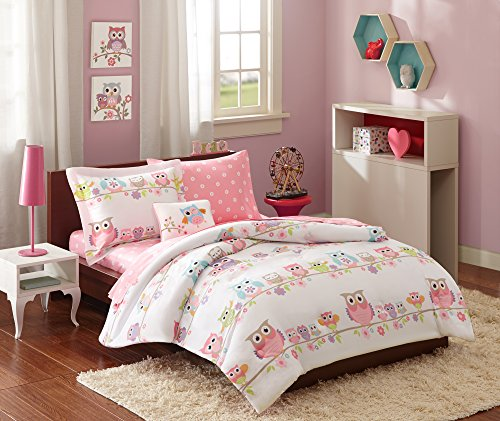 Mi-Zone Kids Wise Wendy Full Comforter Sets For Girls - Pink, Owl  8 Pieces Kids Girl Bedding Set  Ultra Soft Microfiber Childrens Bedroom Bed Comforters