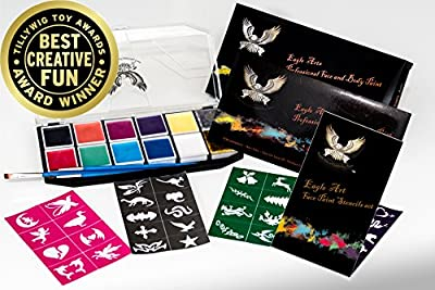 Award Winning Eagle Art Face Paint & Stencil Combo/Party Pack | Non Toxic Water Based, FDA Approved Cosmetic Grade Face Paint | Reusable Adhesive Stencil