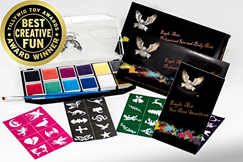 Award Winning Eagle Art Face Paint Party Pack (2 Face Paint Kit, 1 Stencil Set & 1 Artist Brush Set) FDA Approved Cosmetic Grade Face Paint |Reusable Adhesive Stencil |Artist Pointed-Round Paintbrush