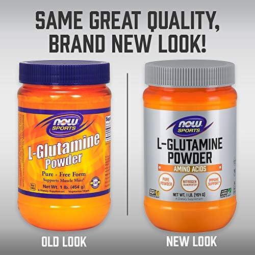 NOW Sports Nutrition, L-Glutamine Pure Powder, Nitrogen Transporter*, Amino Acid, 1-Pound 5
