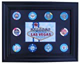 Tiny Treasures, LLC. Black Display Frame with Las Vegas Sign Photo and Casino Poker Chips