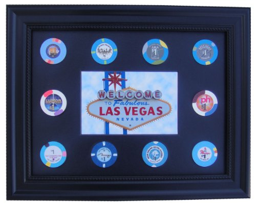 - Tiny Treasures, LLC. Black Display Frame with Las Vegas Sign Photo and Casino Poker Chips