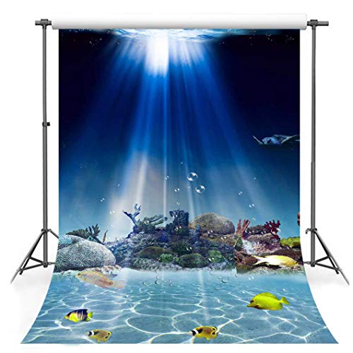 Seabed Backdrop, 5x7ft Cotton Cloth, Fishes Sunshine 3D Aquarium Backgrounds for Photography, Photo Video Studio Props FSLX007