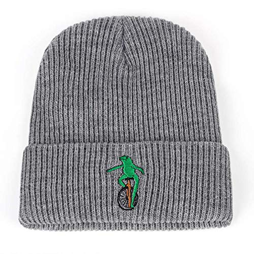 Men Women Beanies Hat Embroidery Wheelbarrow Frog Winter Warm Curved Bill Green Frog Pepe Fitted Hats Gorras