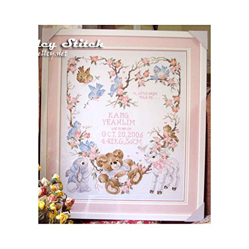 Joyautum Newborn Announcement Birth Record Counted Cross Stitch Kit Embroidery Cartoon Bear Flowers DIY Gift for Baby Room Decoration