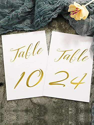 Chengu 24 Pieces 1 to 24 Printed Numbered Card Gold Foil Wood Table Number Cards Golden Double Sided Wedding Table Signs for Wedding Birthday Party, 6 by 4 inch