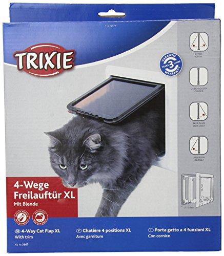Trixie 3867 4-Wege Freilauftür mit Tunnel, weiß