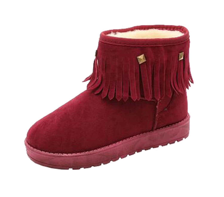 Mogu Women's Winter Short Snow Boots Tassel Rivet Flat Warm Suede Ankle Shoes