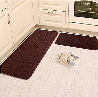 Kitchen Rugs Camal 2 Pieces Non Slip Memory Foam Kitchen Mat Rubber Backing Doormat Runner Rug Set 20 X31 24 X63 Brown Kitchen Linen Amazon Com Au