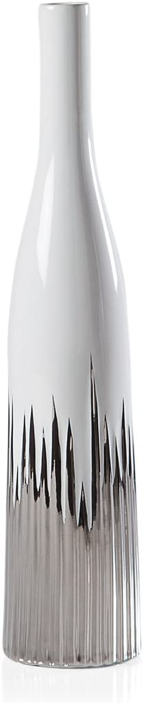 Torre & Tagus Flare Ceramic Bottle Vase Home Decor Centerpiece, Medium, White/Silver