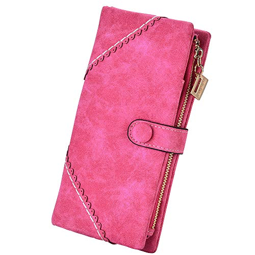 (Women Vegan Leather Wallet Bifold Clutch Large Capacity Card Organizer Buckle Long Purse for Girls Candy Color (Rose Red))