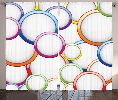 Geometric Decor Curtains 2 Panel Set by Ambesonne, Abstract Chained Colorful Bubbles and Circles Round Patterns Contemporary Art Home Decor, Living Room Bedroom Decor, 108W X 84L Inches, - Panel Circle 108