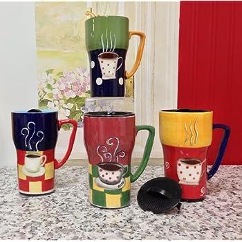 Amazon Com Tuscany Fleur De Lis Coffee Travel Mug Set Of