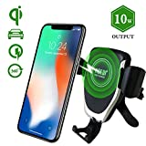 Wireless Car Charger,Wireless Car Charger Mount Vent Holder, Air Vent Phone Holder Gravity,Car 10w Charger,Qi Enabled Devices, Qi Fast Charger Samsung Galaxy S9 Plus/S9, S8 Plus/S8, S7/S7 Edge