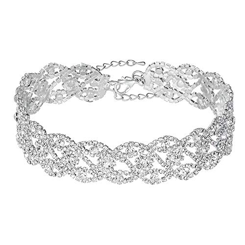 Miraculous Garden Silver Infinity Rhinestone Choker Necklace Birthday Gifts for Women,Party Wedding Bride Prom Fashion Crystal Jewelry Gift for Her. (1)