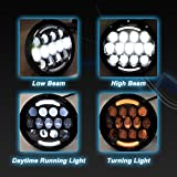 Liteway 2pcs 7'' 75W Round Led Headlights Sealed Beam CREE LED Daymaker with White/ Amber Turn Signal DRL for Jeep Wrangler Spot Driving Light, 2 Years Warranty