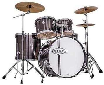 Mapex Voyager 5 Piece Complete Jazz Drum Set Grey Steel Vr5044 Tcz C