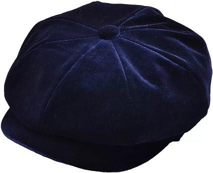 Faux Crushed Velvet Ladies Baker Boy Hat Fiddlers Breton Cap Blue Cotton Blend