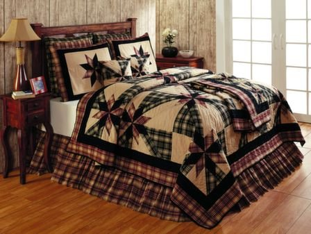 Heritage Bedding Black & Tan Plaid KING Skirt by Heart of America (Image #1)