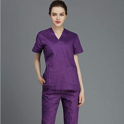 OPPP Ropa médica 100% algodón Ropa médica Ropa de Limpieza médico Enfermera de Manga Corta