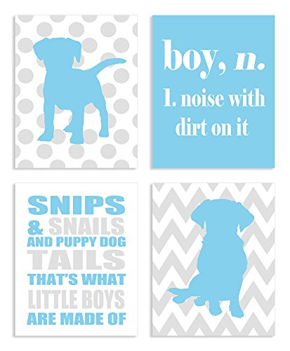 Plaque Dog Puppy Wall (The Kids Room By Stupell Snips And Snails And Puppy Dog Tails 4-Pc Rectangle Wall Plaque Set, Proudly Made in USA)